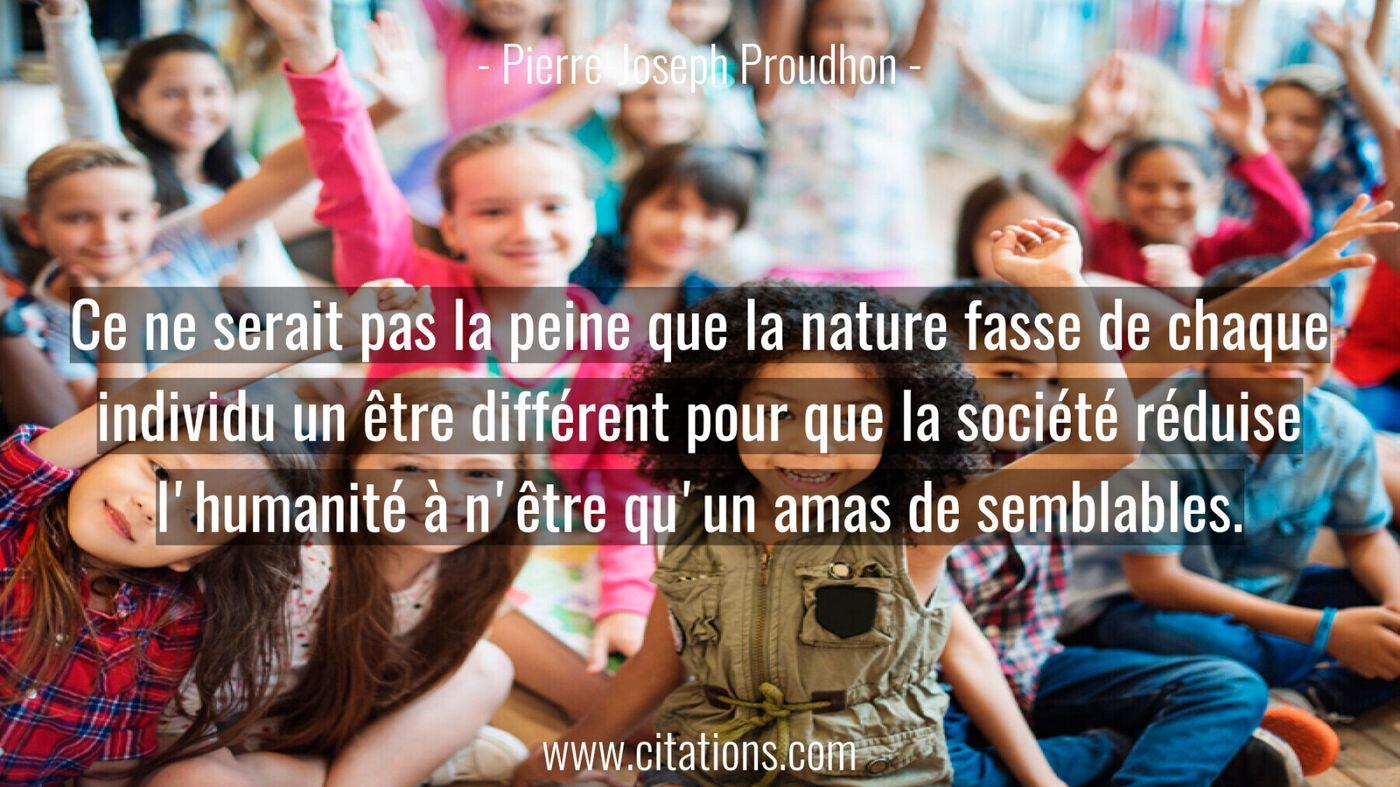 Ce ne serait pas la peine que la nature fasse de chaque individu un être différent pour que la société réduise l'humanité à n'être qu'un amas de semblables.