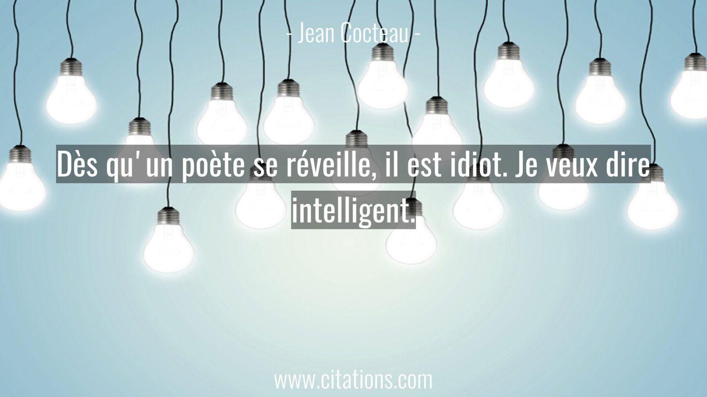 Dès qu'un poète se réveille, il est idiot. Je veux dire intelligent.