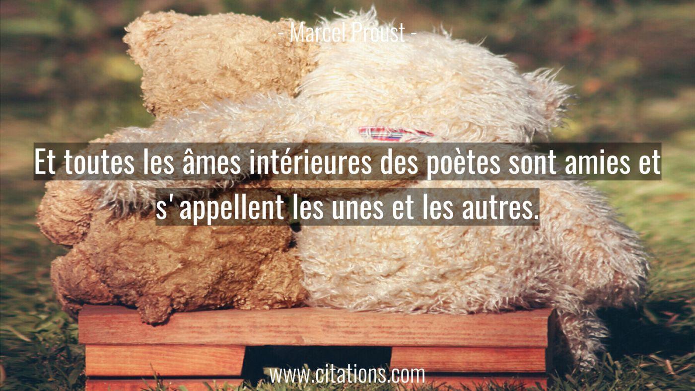 Et toutes les âmes intérieures des poètes sont amies et s'appellent les unes et les autres.