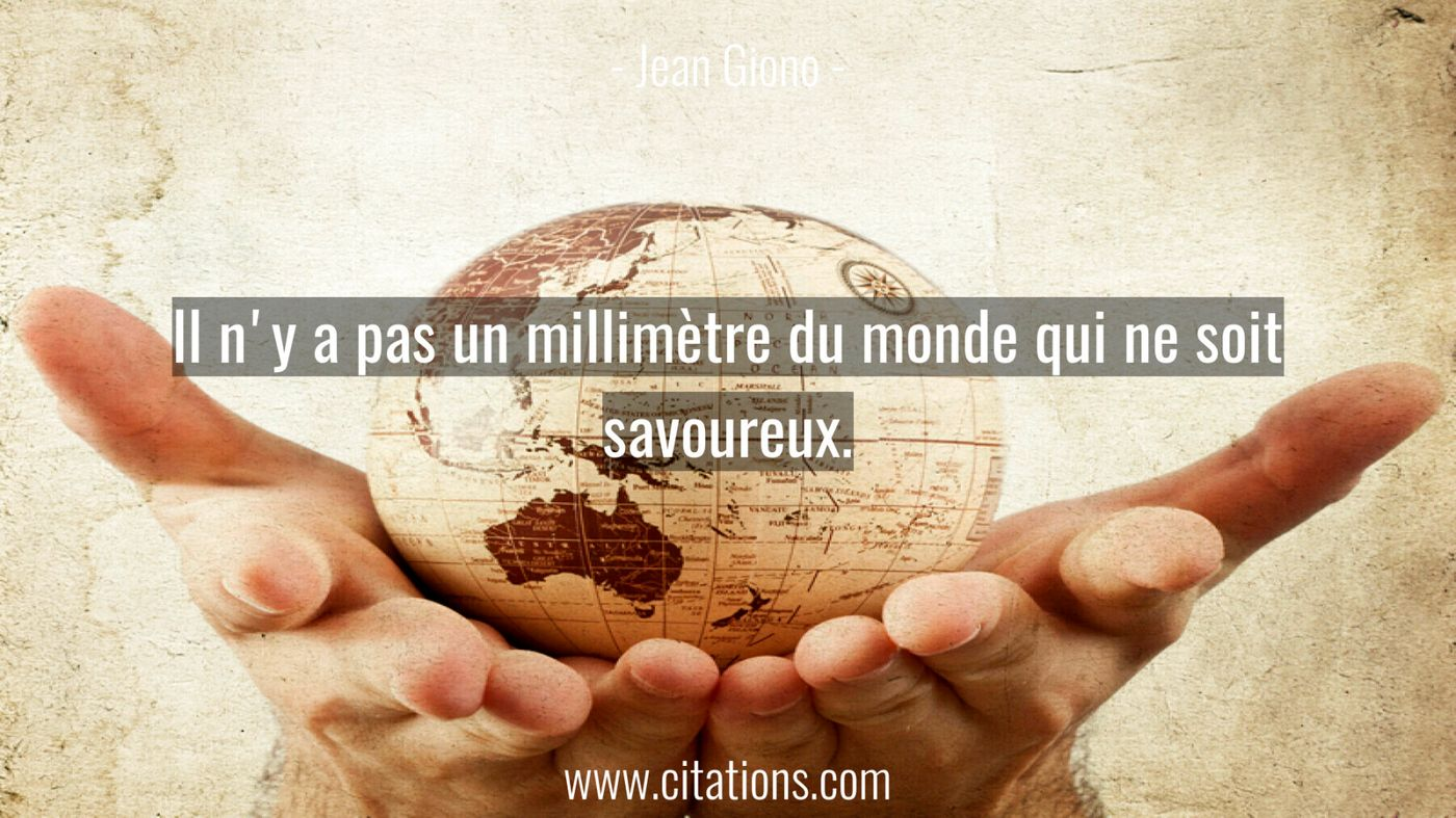 Il n'y a pas un millimètre du monde qui ne soit savoureux.