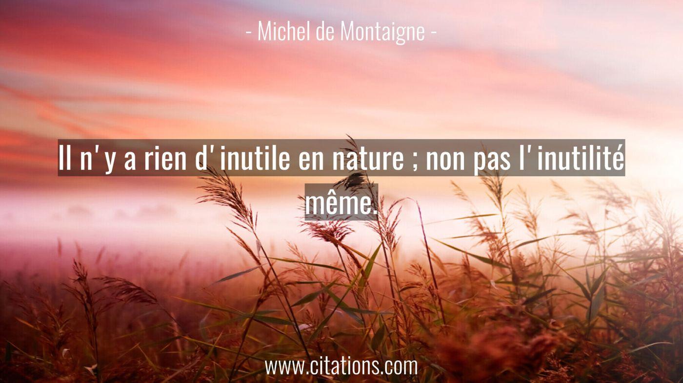 Il n'y a rien d'inutile en nature ; non pas l'inutilité même.