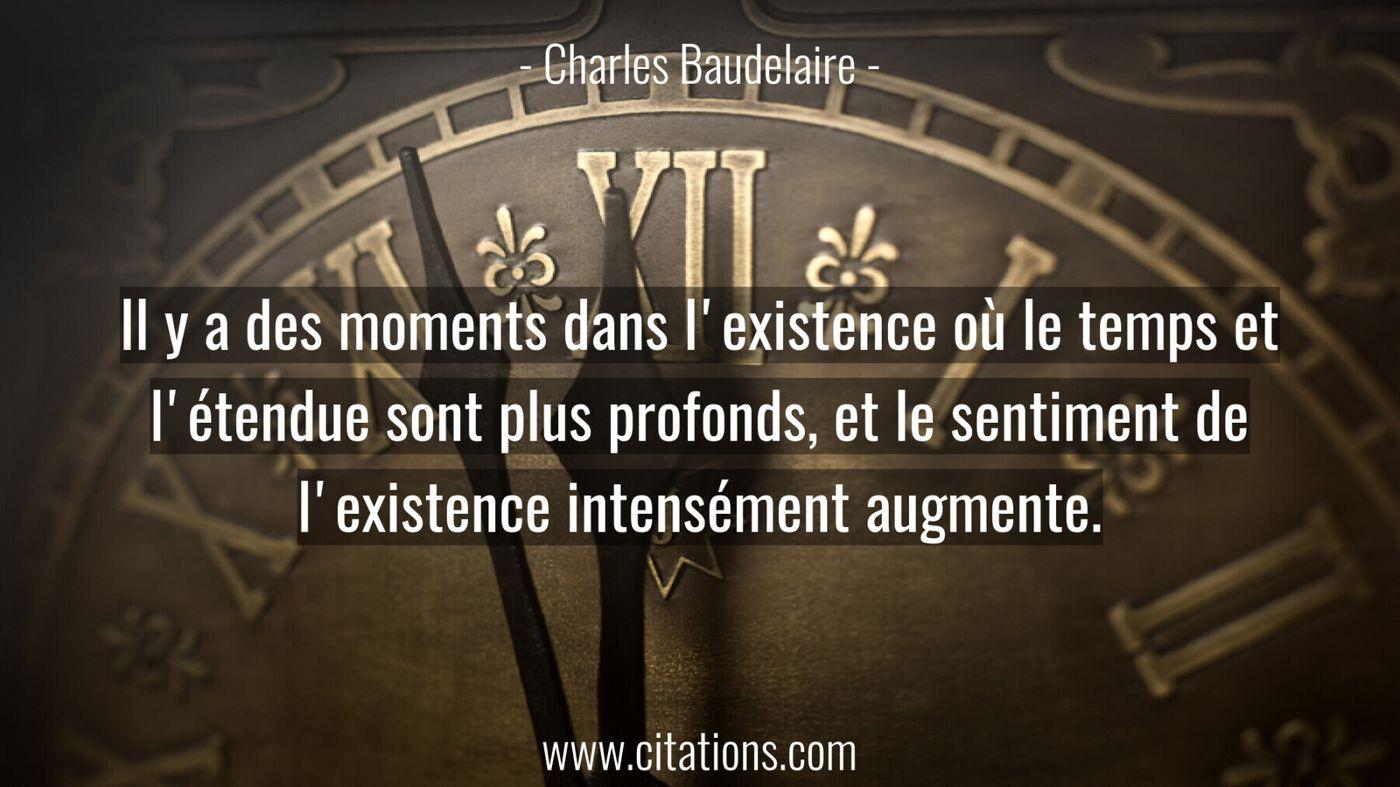 Il y a des moments dans l'existence où le temps et l'étendue sont plus profonds, et le sentiment de l'existence intensém...