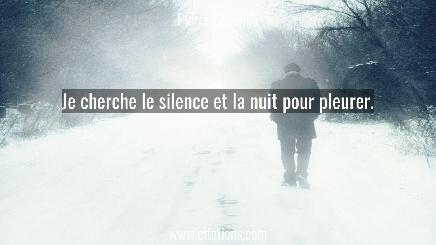 Je cherche le silence et la nuit pour pleurer.