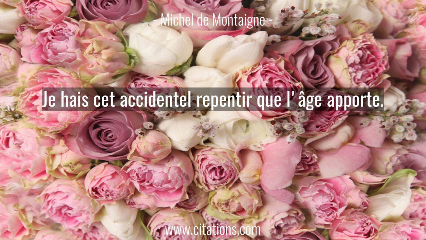 Je hais cet accidentel repentir que l'âge apporte.