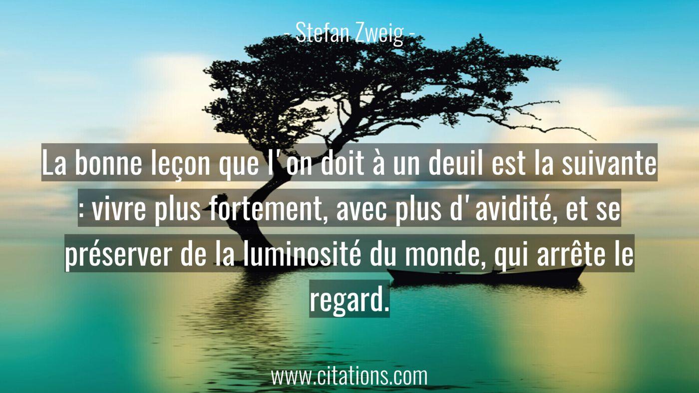 La bonne leçon que l'on doit à un deuil est la suivante : vivre plus fortement, avec plus d'avidité, et se préserver de...