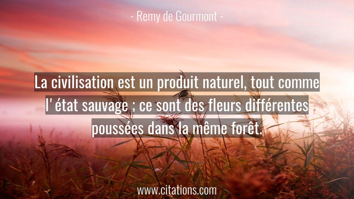 La civilisation est un produit naturel, tout comme l'état sauvage ; ce sont des fleurs différentes poussées dans la même...