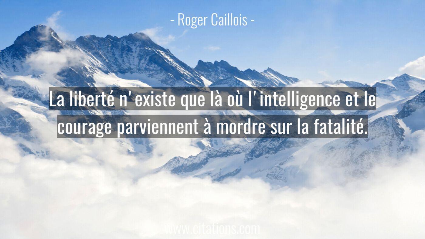 La liberté n'existe que là où l'intelligence et le courage parviennent à mordre sur la fatalité.