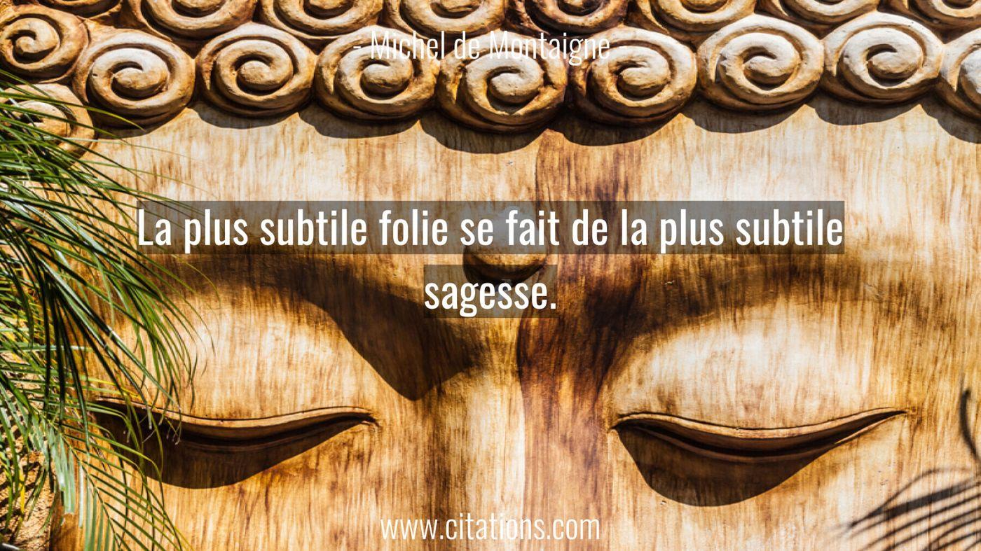 La plus subtile folie se fait de la plus subtile sagesse.