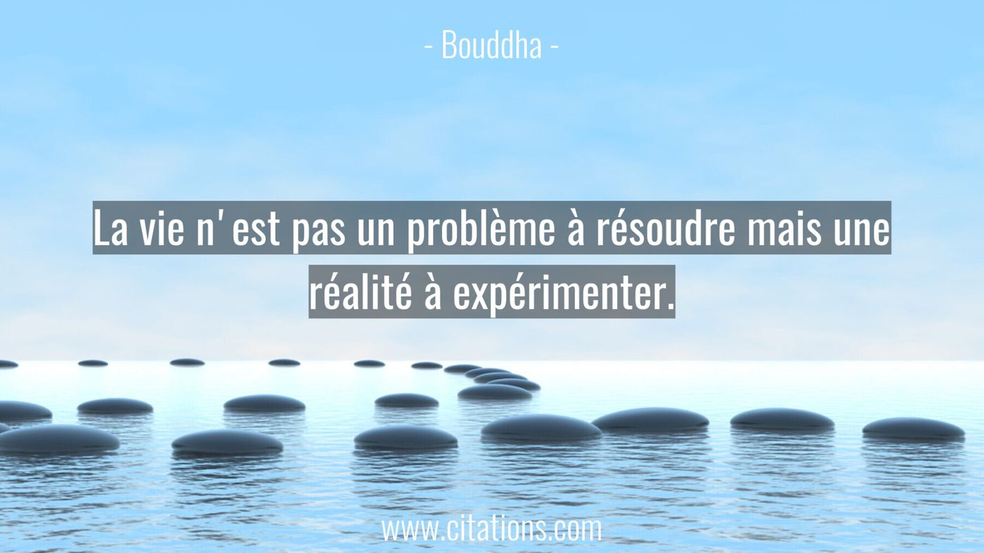 La vie n'est pas un problème à résoudre mais une réalité à expérimenter.