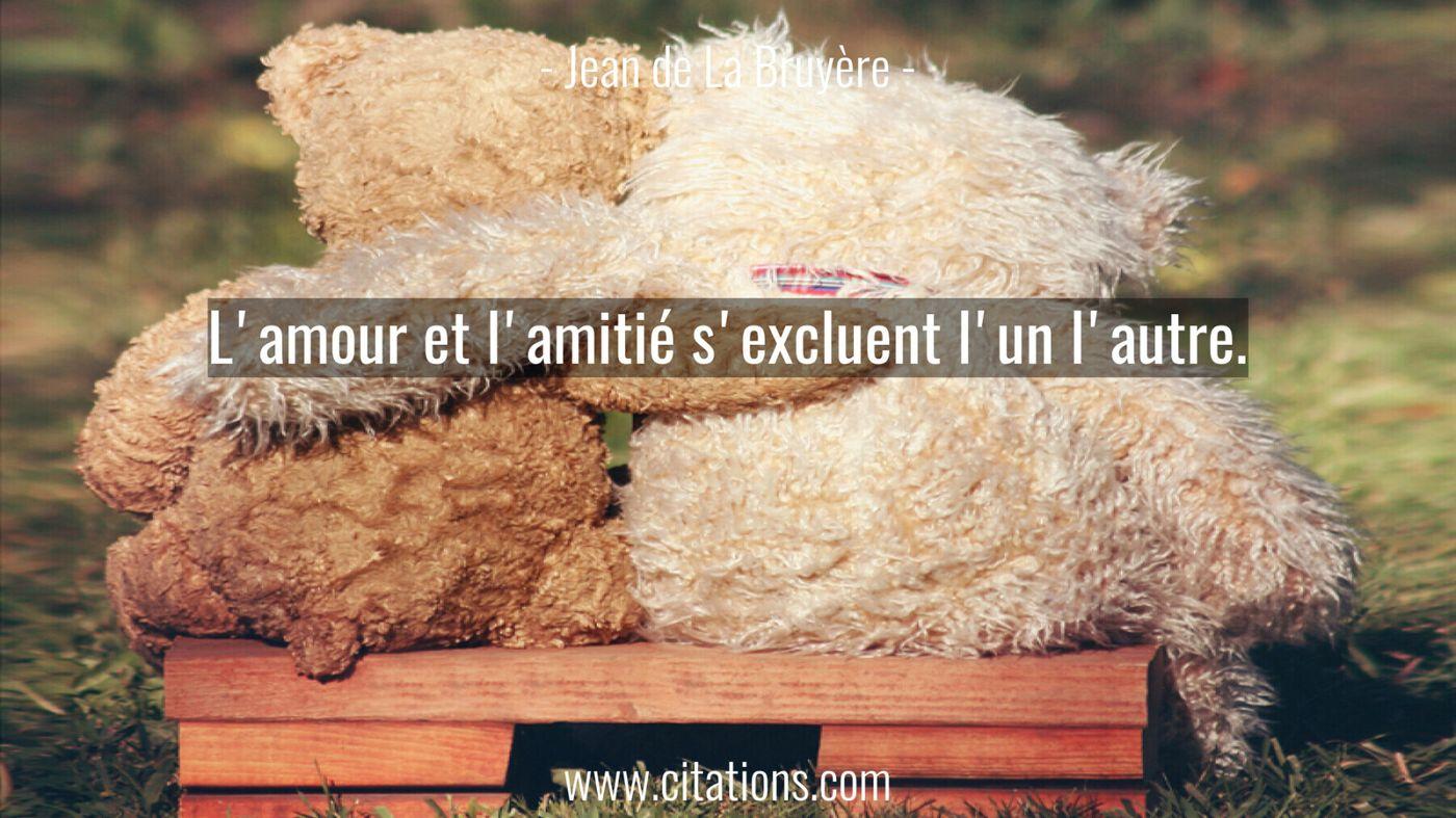 L'amour et l'amitié s'excluent l'un l'autre.
