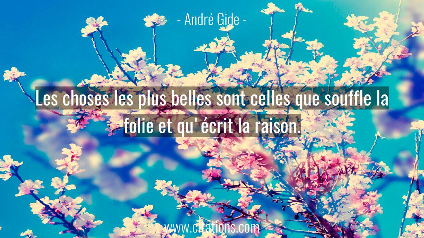 Les choses les plus belles sont celles que souffle la folie et qu'écrit la raison.