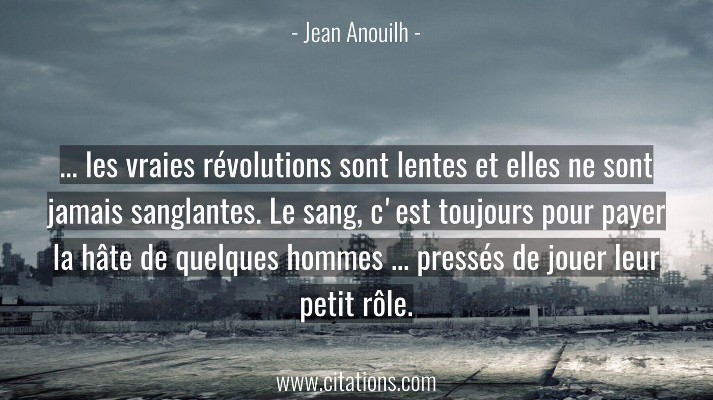 ... les vraies révolutions sont lentes et elles ne sont jamais sanglantes. Le sang, c'est toujours pour payer la hâte de...