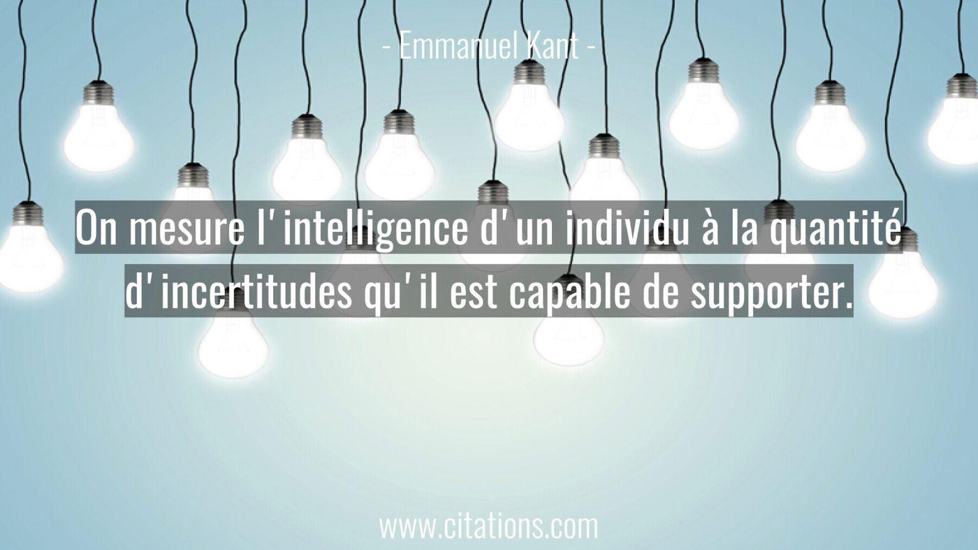On mesure l'intelligence d'un individu à la quantité d'incertitudes qu'il