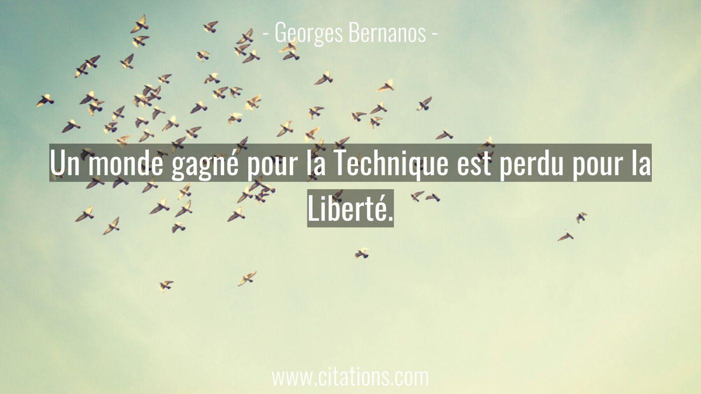 Un monde gagné pour la Technique est perdu pour la Liberté.