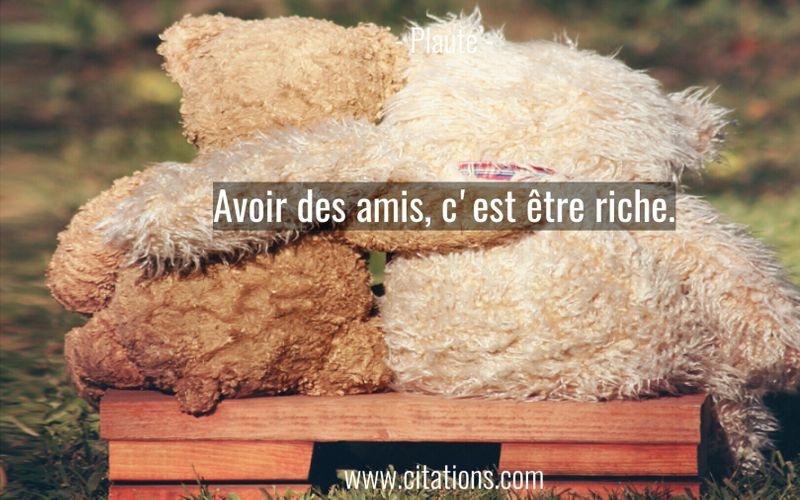 Avoir des amis, c'est être riche.