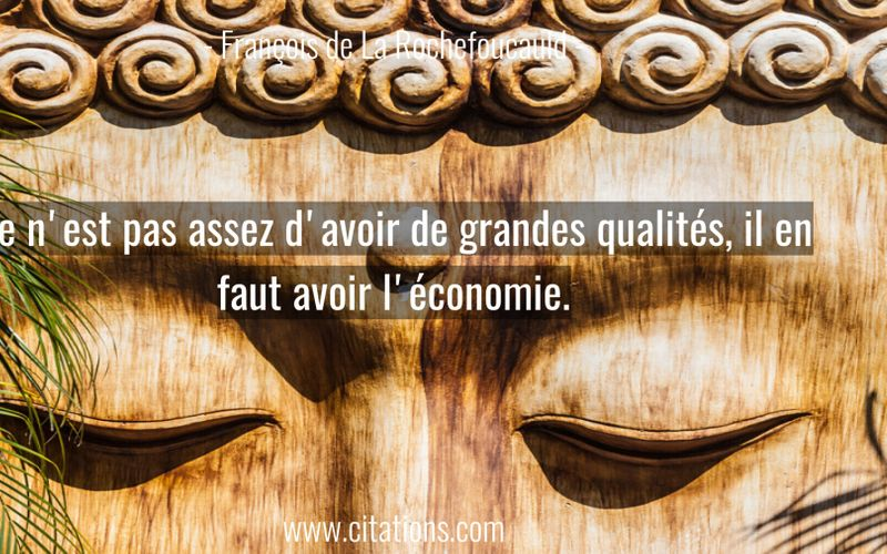 Ce n'est pas assez d'avoir de grandes qualités, il en faut avoir l'économie.