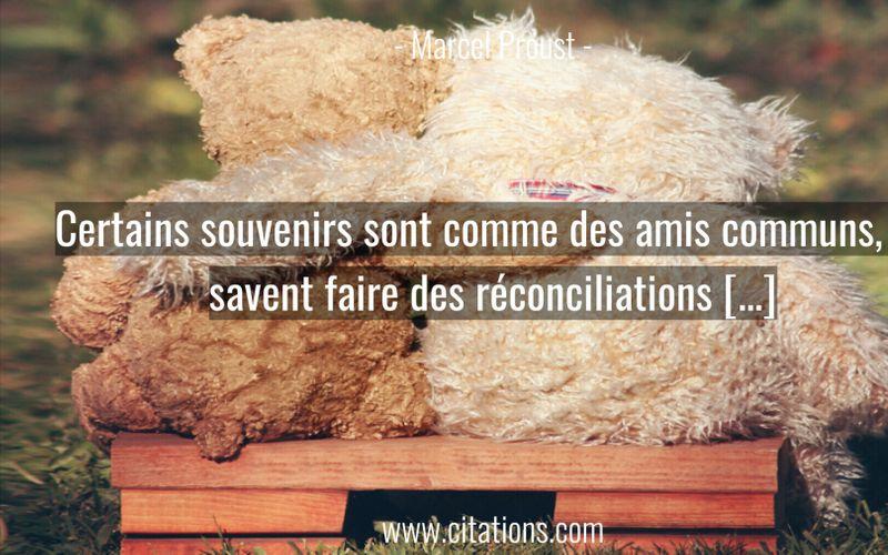 Certains souvenirs sont comme des amis communs, ils savent faire des réconciliations […]