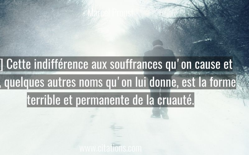 […] Cette indifférence aux souffrances qu'on cause et qui, quelques autres noms qu'on lui donne, est la forme terrible et permanente de la cruauté.