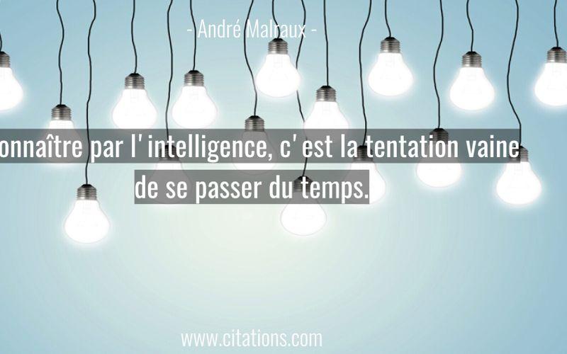 Connaître par l'intelligence, c'est la tentation vaine de se passer du temps.