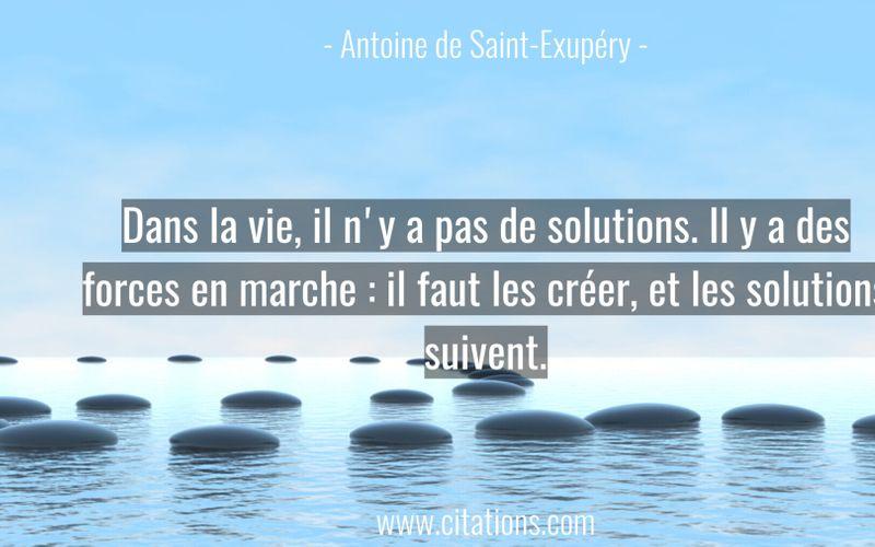 Dans la vie, il n'y a pas de solutions. Il y a des forces en marche : il faut les créer, et les solutions suivent.