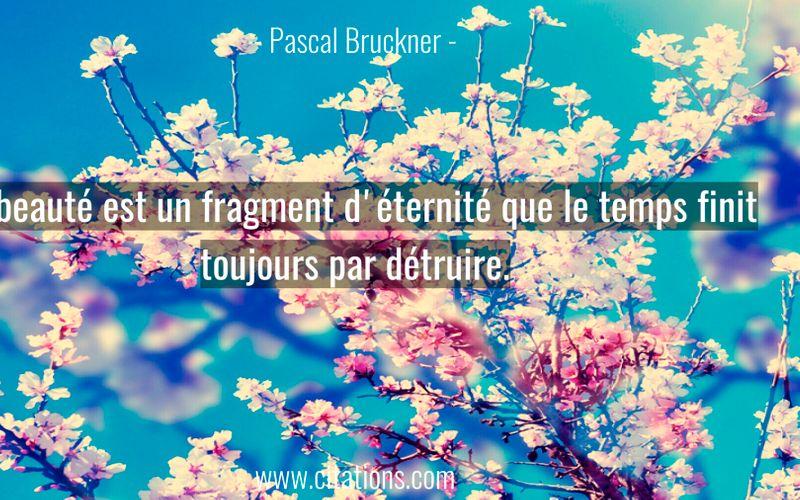 La beauté est un fragment d'éternité que le temps finit toujours par détruire.
