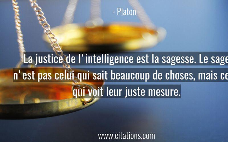 La justice de l'intelligence est la sagesse. Le sage n'est pas celui qui sait beaucoup de choses, mais celui qui voit leur juste mesure.
