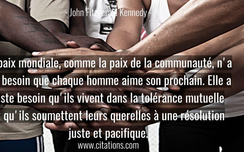 La paix mondiale, comme la paix de la communauté, n'a nul besoin que chaque homme aime son prochain. Elle a juste besoin qu'ils vivent dans la tolérance mutuelle et qu'ils soumettent leurs querelles à une résolution juste et pacifique.