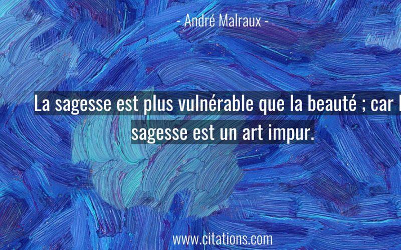 La sagesse est plus vulnérable que la beauté ; car la sagesse est un art impur.