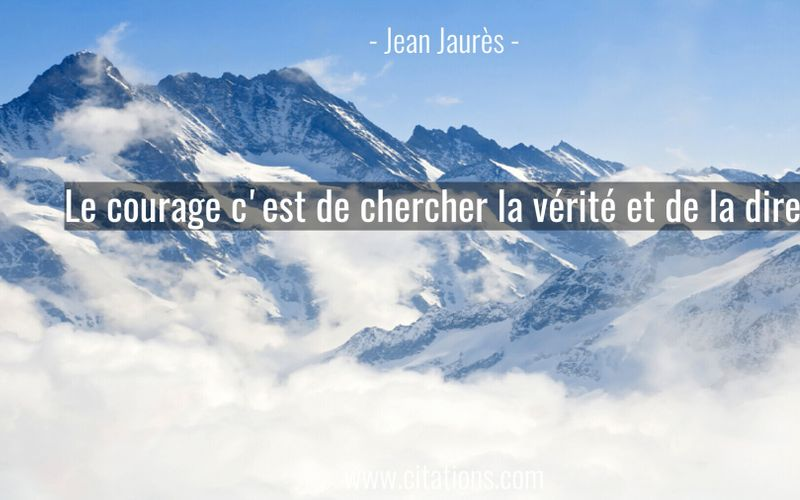 Le courage c'est de chercher la vérité et de la dire...