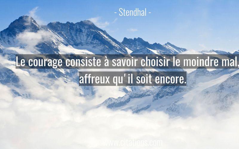 Le courage consiste à savoir choisir le moindre mal, si affreux qu'il soit encore.