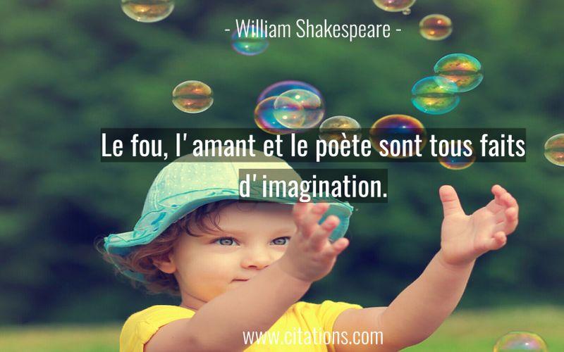 Le fou, l'amant et le poète sont tous faits d'imagination.