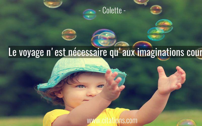 Le voyage n'est nécessaire qu'aux imaginations courtes.
