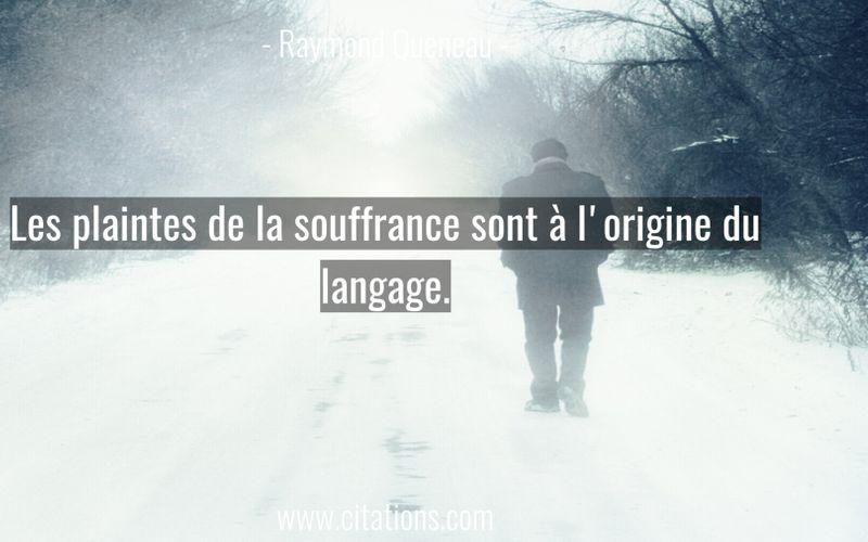 Les plaintes de la souffrance sont à l'origine du langage.