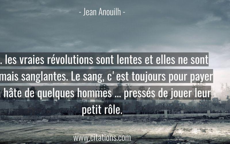 ... les vraies révolutions sont lentes et elles ne sont jamais sanglantes. Le sang, c'est toujours pour payer la hâte de quelques hommes ... pressés de jouer leur petit rôle.