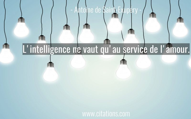 L'intelligence ne vaut qu'au service de l'amour.