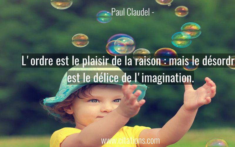 L'ordre est le plaisir de la raison : mais le désordre est le délice de l'imagination.