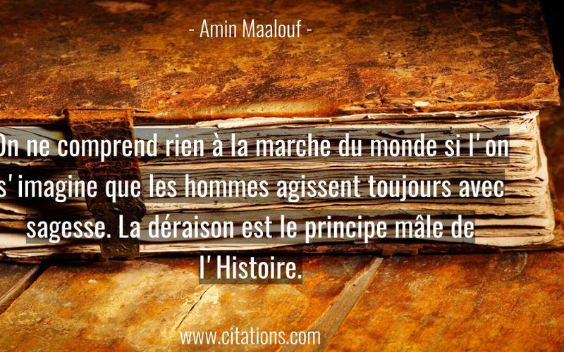 On ne comprend rien à la marche du monde si l'on s'imagine que les hommes agissent toujours avec sagesse. La déraison est le principe mâle de l'Histoire.