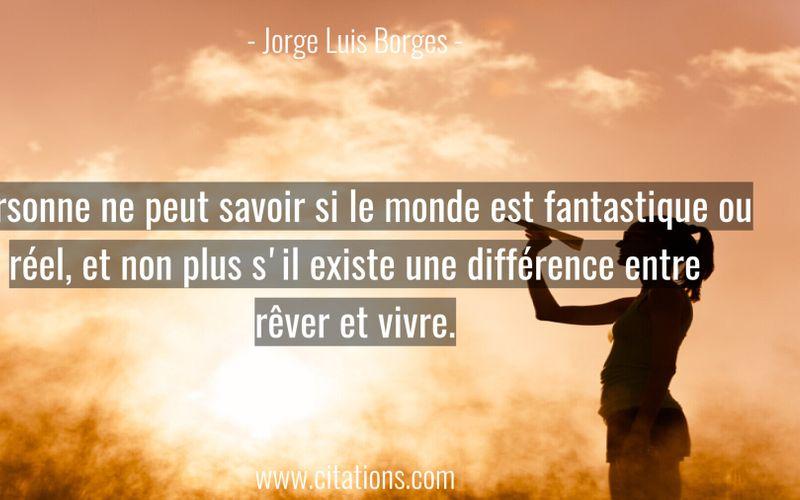 Personne ne peut savoir si le monde est fantastique ou réel, et non plus s'il existe une différence entre rêver et vivre.