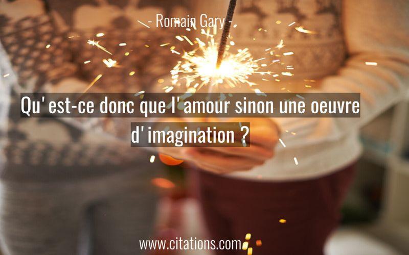 Qu'est-ce donc que l'amour sinon une oeuvre d'imagination ?