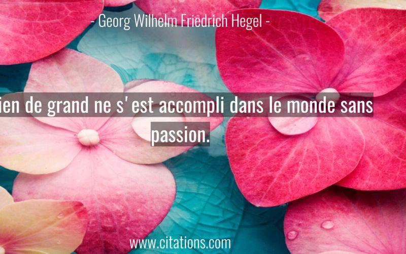 Rien de grand ne s'est accompli dans le monde sans passion.