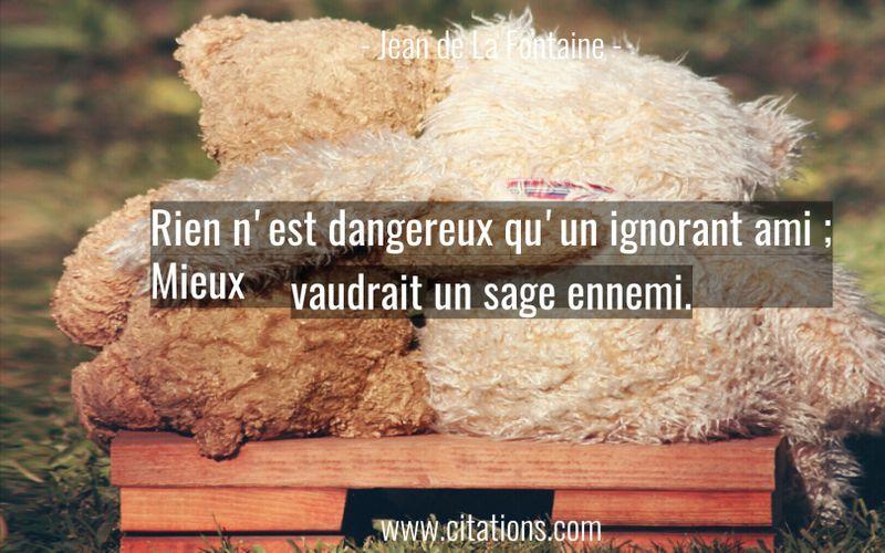 Rien n'est dangereux qu'un ignorant ami ; Mieux vaudrait un sage ennemi.