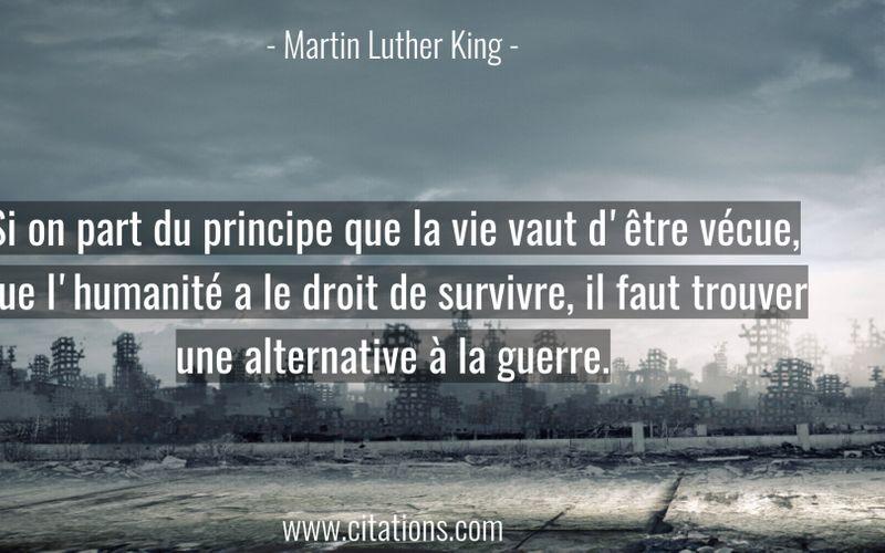 Si on part du principe que la vie vaut d'être vécue, que l'humanité a le droit de survivre, il faut trouver une alternative à la guerre.