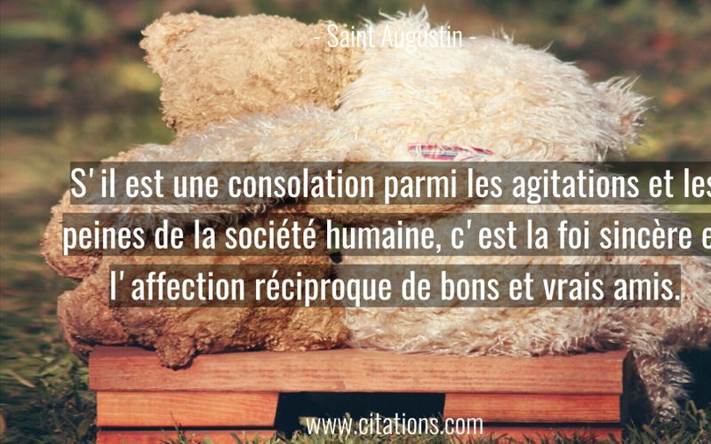 S'il est une consolation parmi les agitations et les peines de la société humaine, c'est la foi sincère et l'affection réciproque de bons et vrais amis.