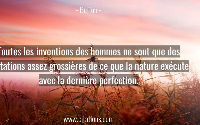 Toutes les inventions des hommes ne sont que des imitations assez grossières de ce que la nature exécute avec la dernière perfection.