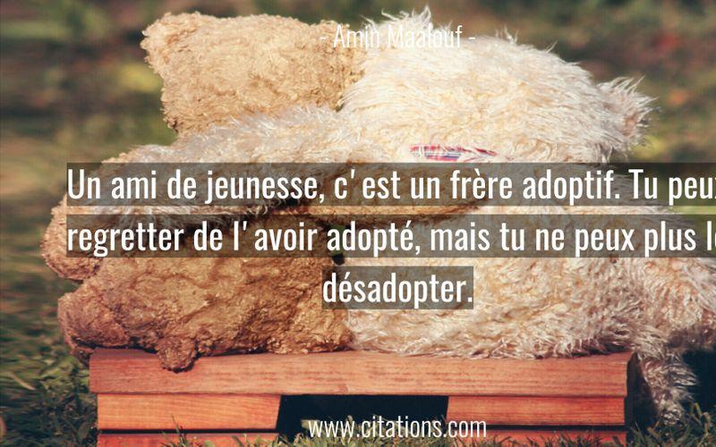 Un ami de jeunesse, c'est un frère adoptif. Tu peux regretter de l'avoir adopté, mais tu ne peux plus le désadopter.