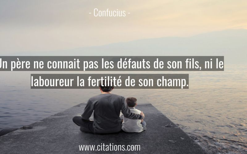Un père ne connait pas les défauts de son fils, ni le laboureur la fertilité de son champ.