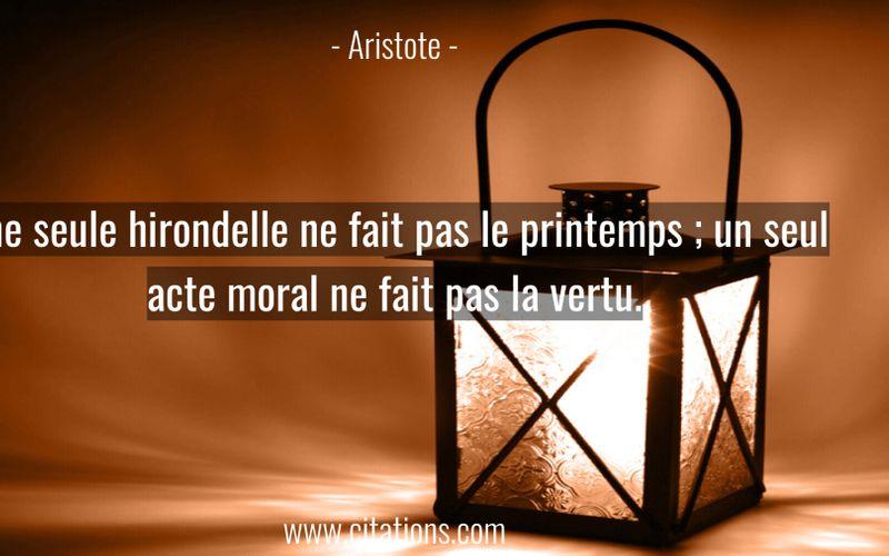 Une seule hirondelle ne fait pas le printemps ; un seul acte moral ne fait pas la vertu.